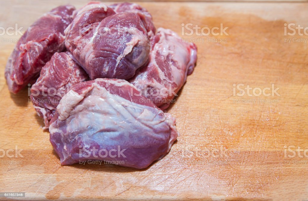 meat cheek pieces of iberian pig stock photo