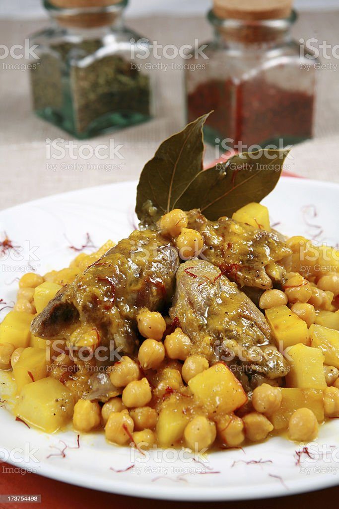 meat  chickpea and potato food royalty-free stock photo