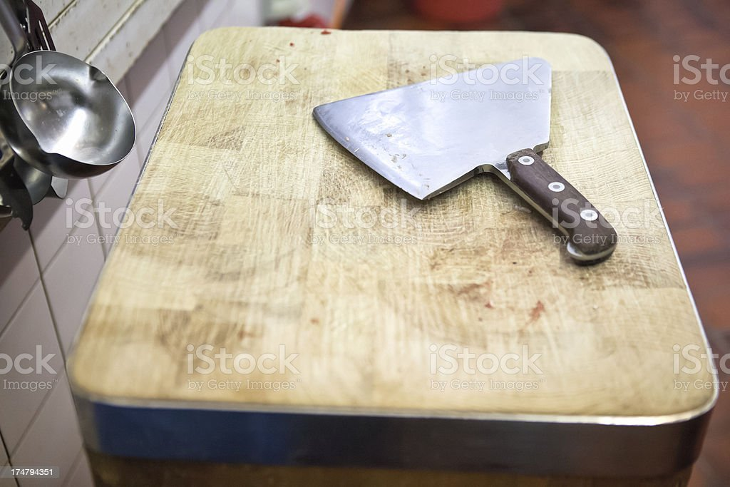 Meat Cleaver and Cutting Board stock photo
