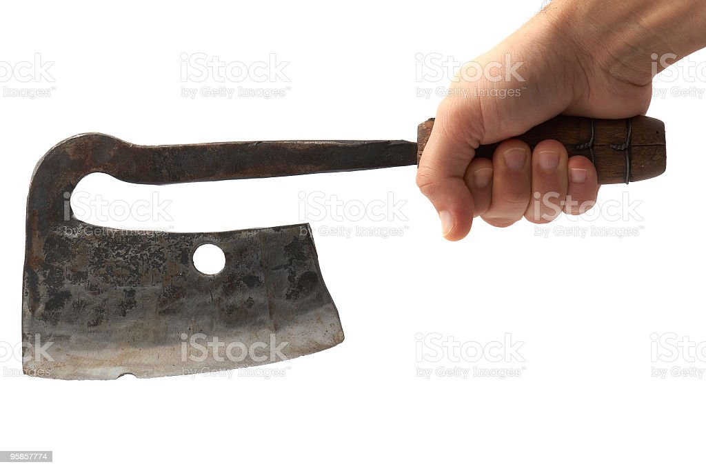 meat cleaver in hand ready to cut stock photo