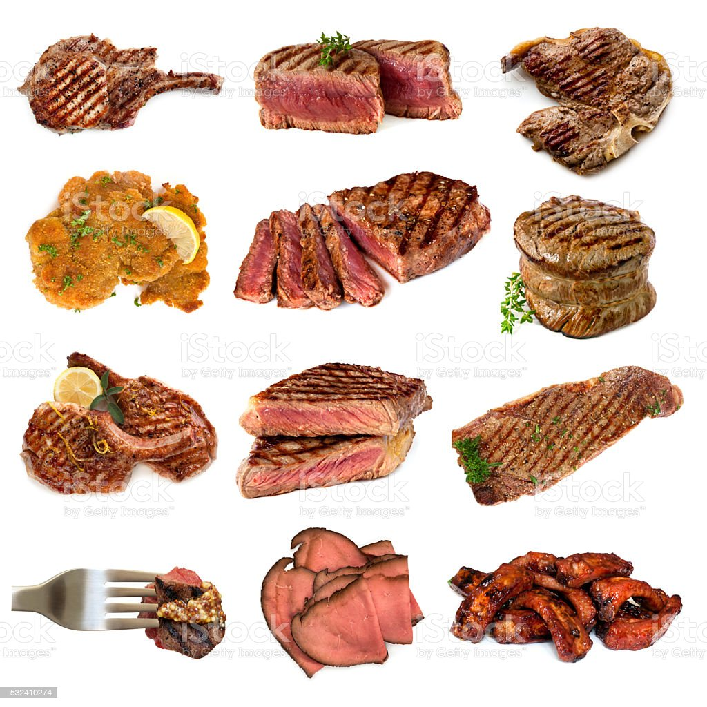 Meat Collection over White stock photo