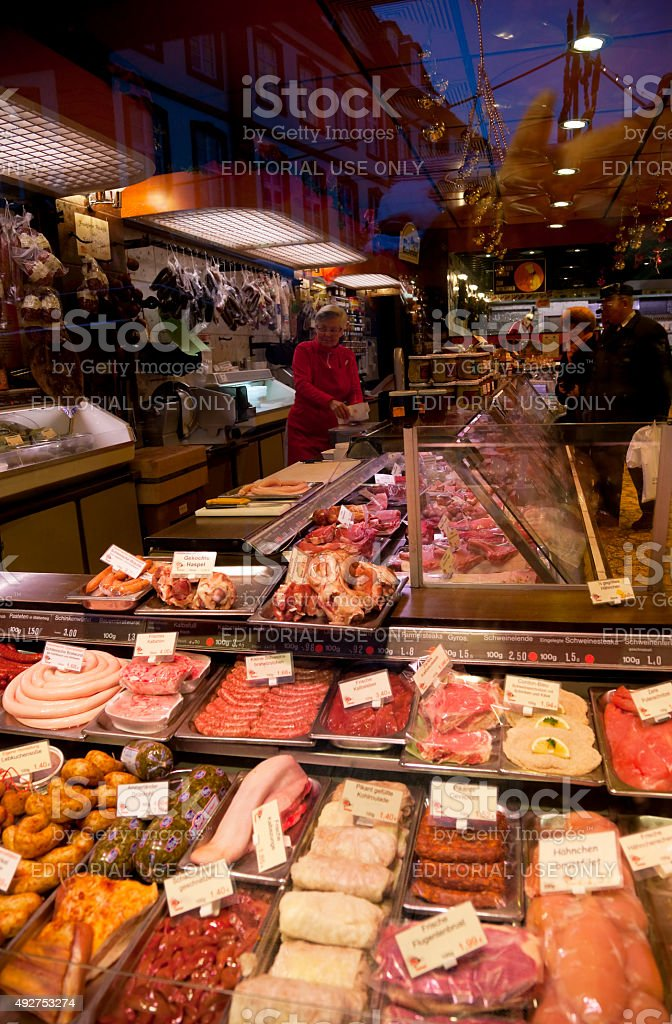 Meat counter at Christmas Market in Frankfurt, Germany stock photo