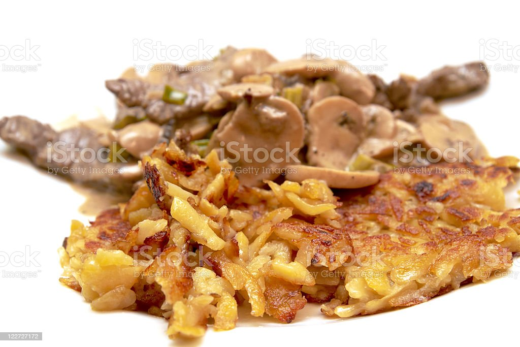 Meat cut strips with in potato rosti royalty-free stock photo