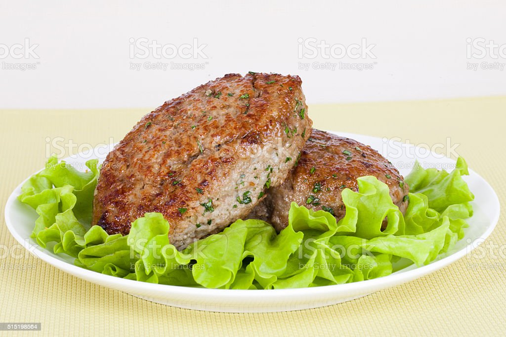 meat cutlet on a plate stock photo
