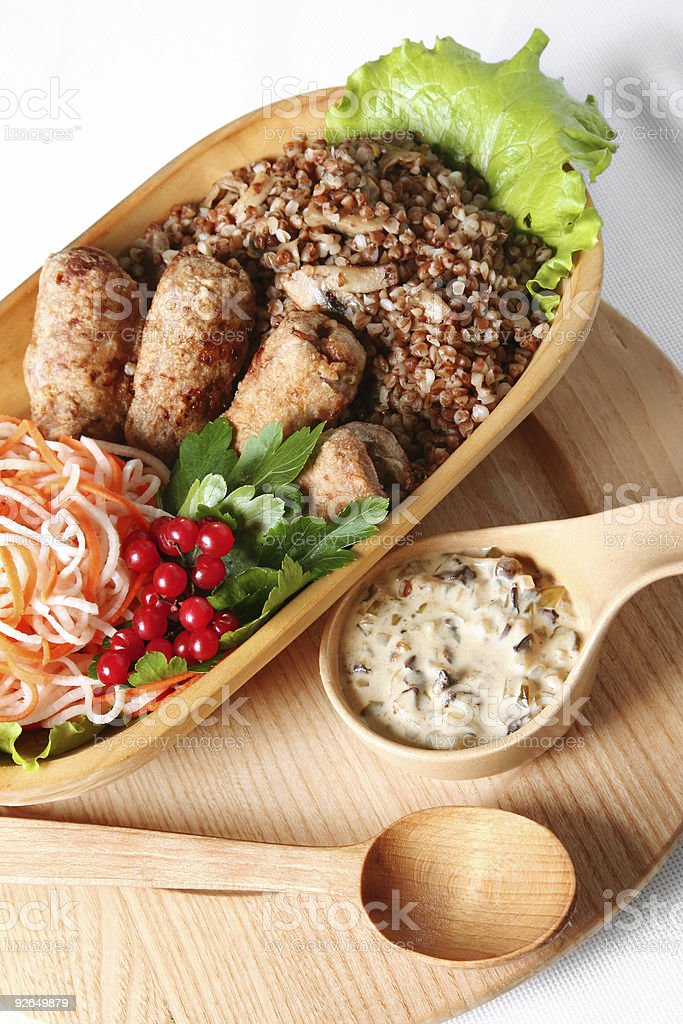 Meat cutlet with buckwheat royalty-free stock photo