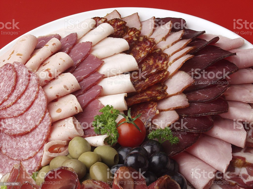 meat delicatessen plate royalty-free stock photo