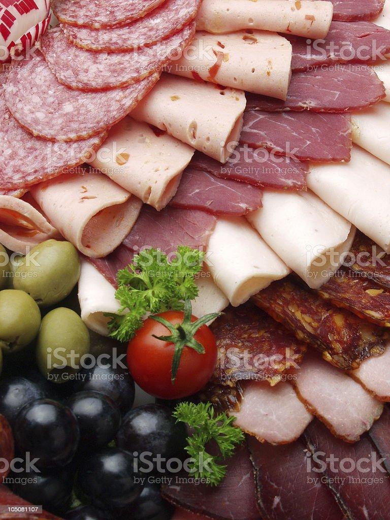 meat delicatessen plate stock photo