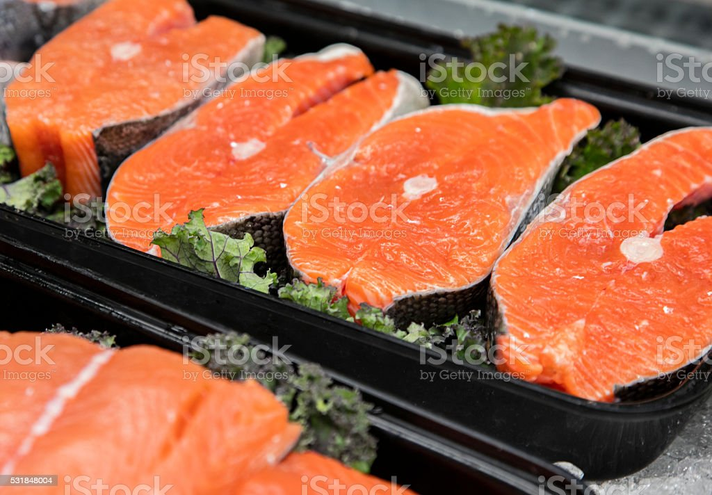 Meat Department of Grocery Store - fish stock photo