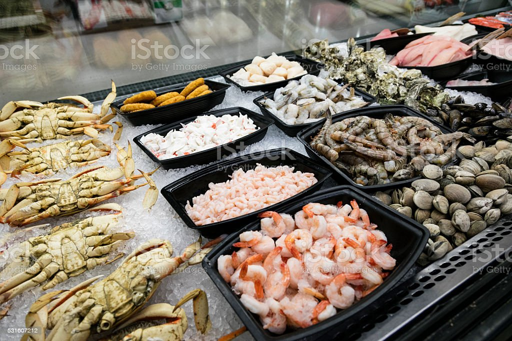 Meat Department of Grocery Store - seafood stock photo