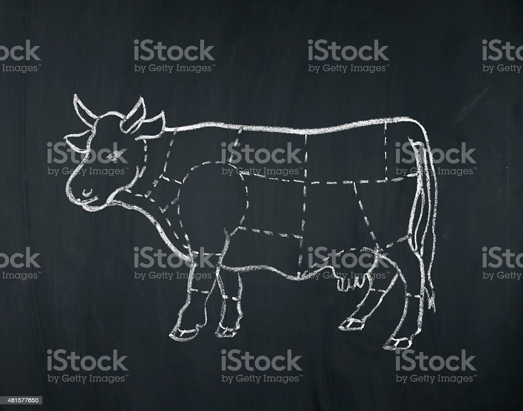 meat diagram of a cow vector art illustration