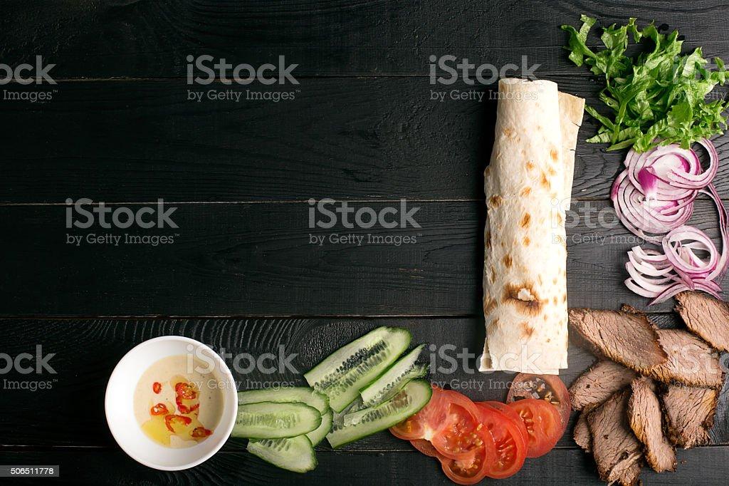 Meat doner kebab stock photo