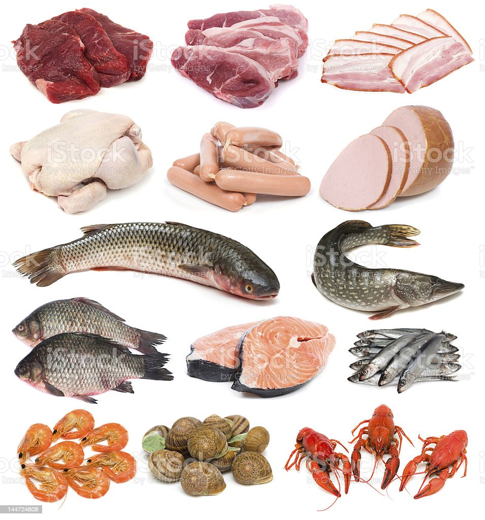 Meat, fish and seafood royalty-free stock photo