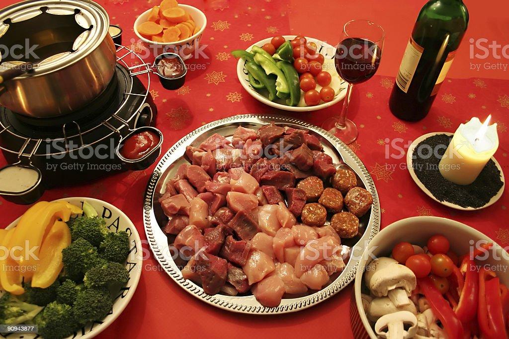 meat fondue royalty-free stock photo
