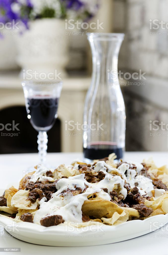 meat food and red wine royalty-free stock photo
