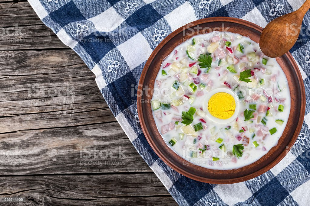 meat, greens and vegetables cold No-Cook soup with greek yogurt stock photo