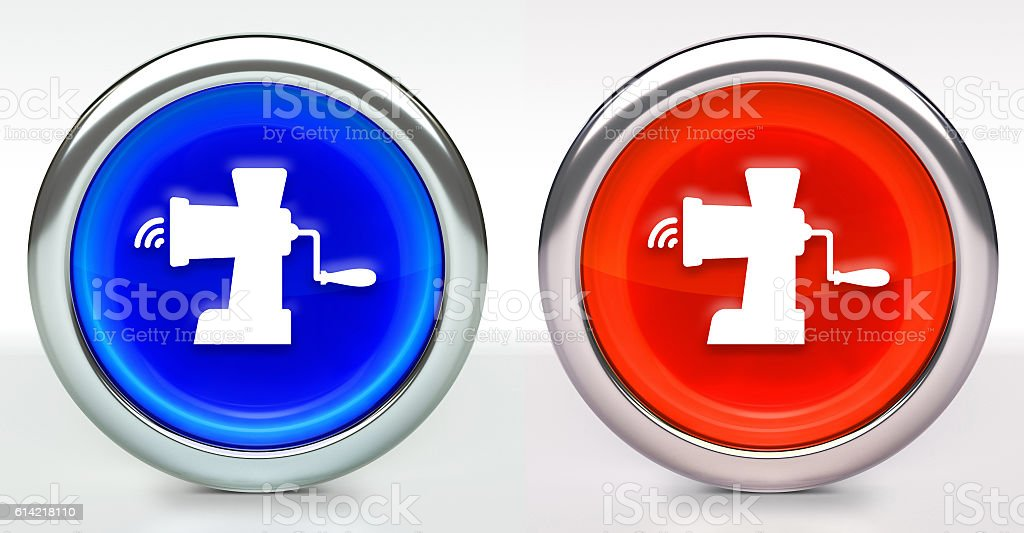 Meat Grinder Icon on Button with Metallic Rim stock photo