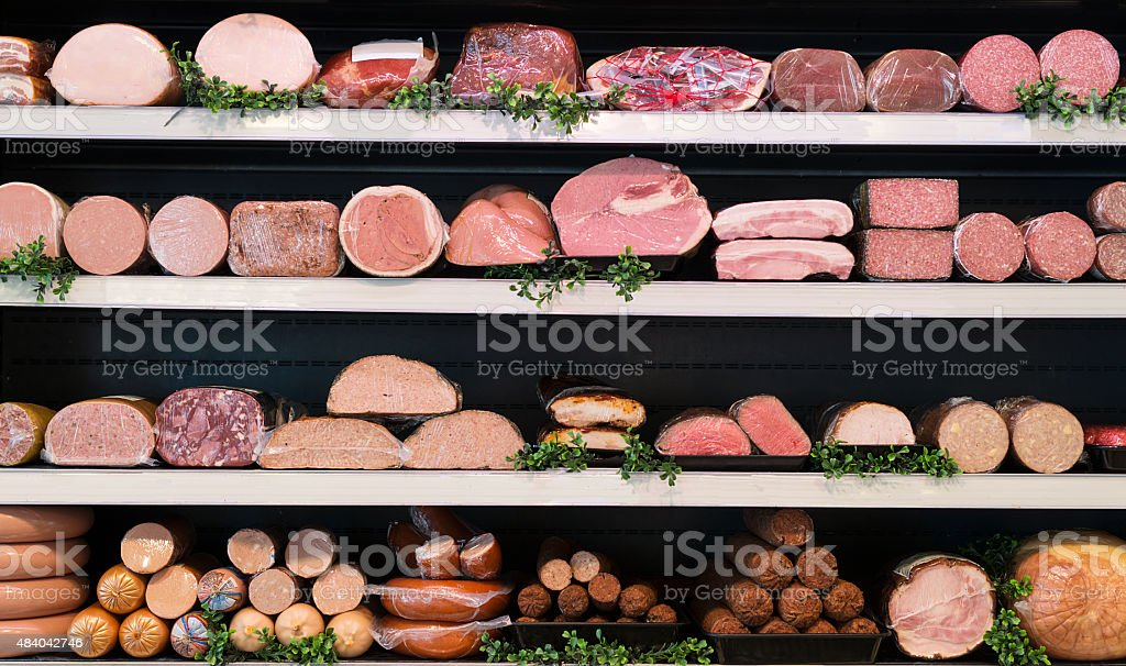 meat in butcher stock photo