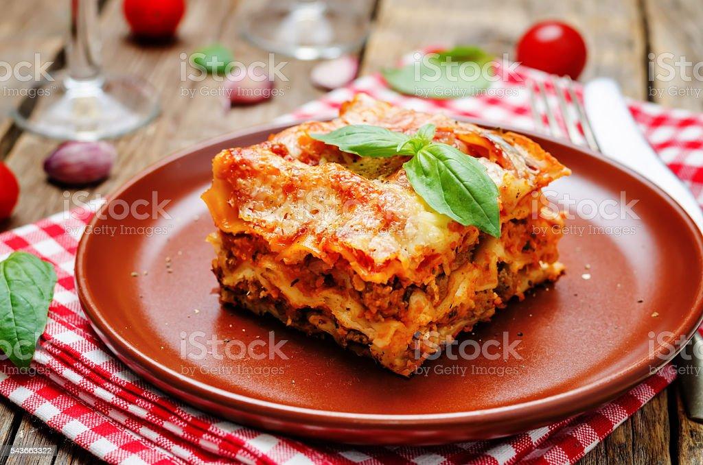 Meat lasagna stock photo