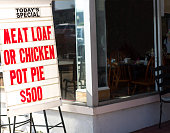 'Meat Loaf or Chicken Pot Pie' Ad Outside Restaurant