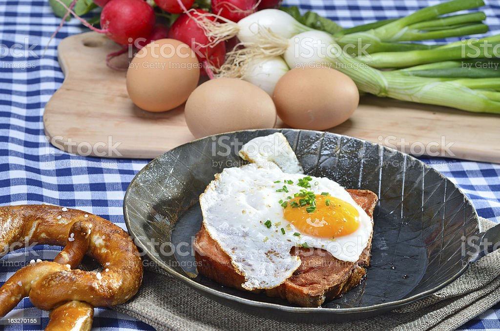 Meat loaf with fried egg royalty-free stock photo