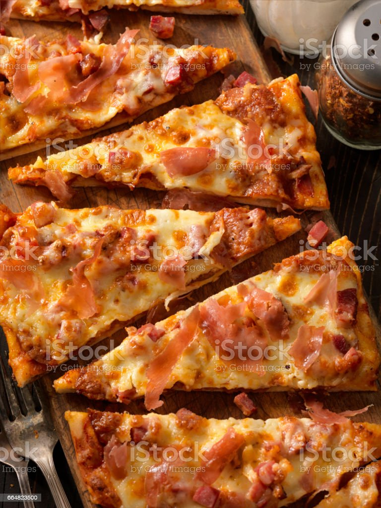 Meat lovers, Flat Bread Pizza stock photo