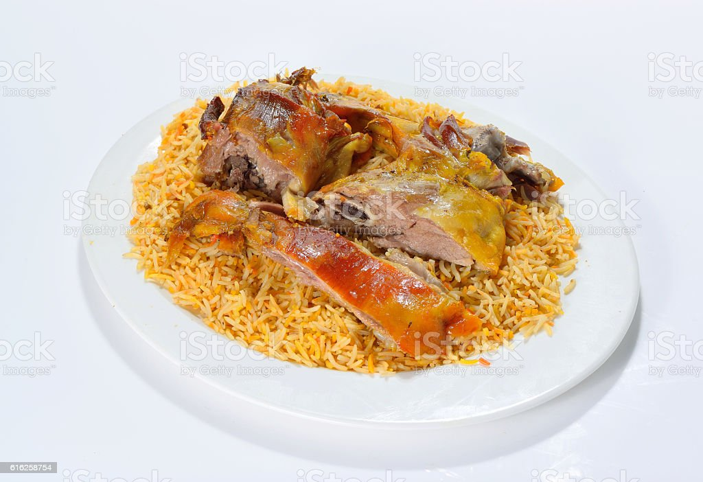 Meat mandi traditional arabic rice food stock photo