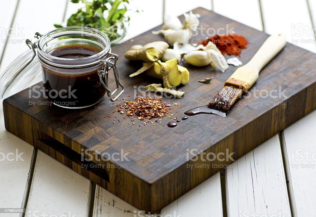 Meat marinade stock photo