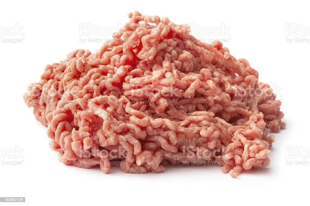 Meat: Minced Meat Isolated on White Background stock photo