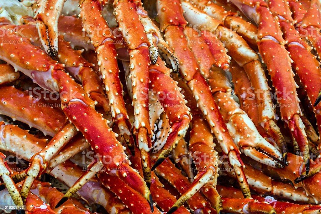 Meat of king crabs in Bergen fish market, Norway stock photo