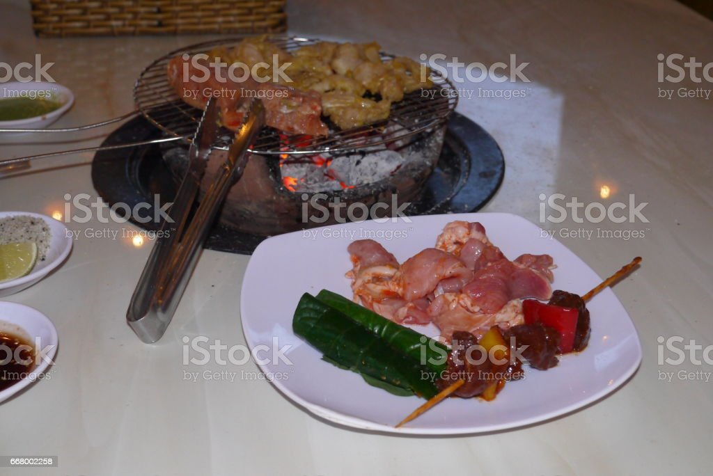 Meat on a grill stock photo