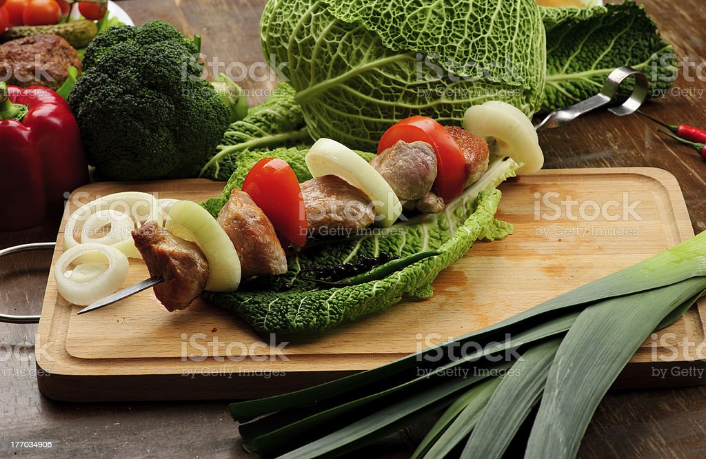 meat on a skewer royalty-free stock photo