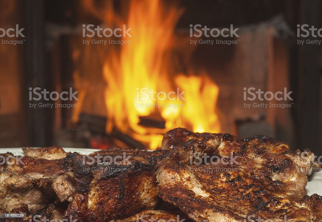 meat on bbq royalty-free stock photo