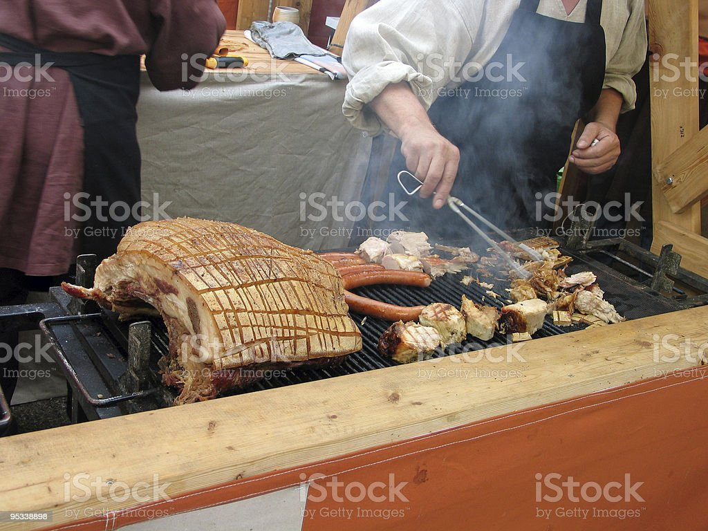 Meat on charcoal grill royalty-free stock photo