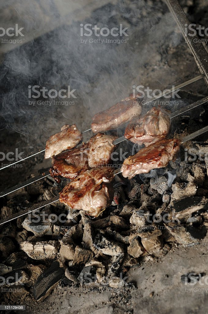 meat on the coals royalty-free stock photo