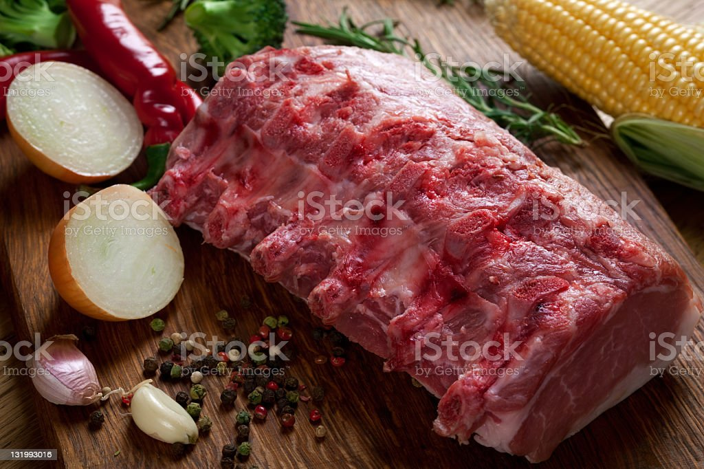 Meat on the cutting board royalty-free stock photo