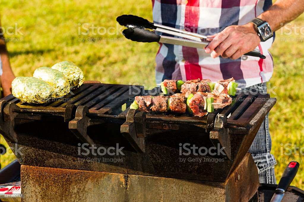 Meat on the fire stock photo
