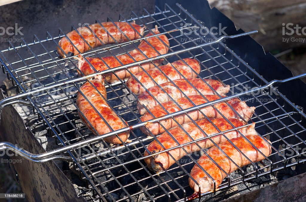 Meat on the grill for a barbecue royalty-free stock photo