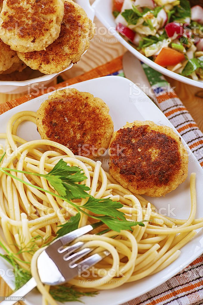 Meat patties and pasta royalty-free stock photo
