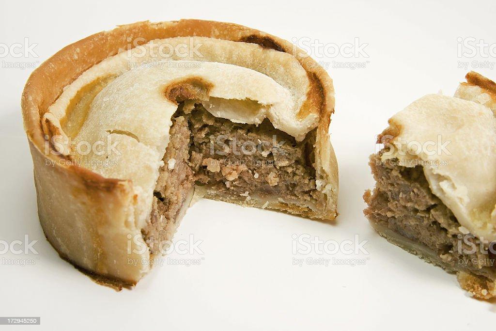 Meat Pie Cut Open stock photo