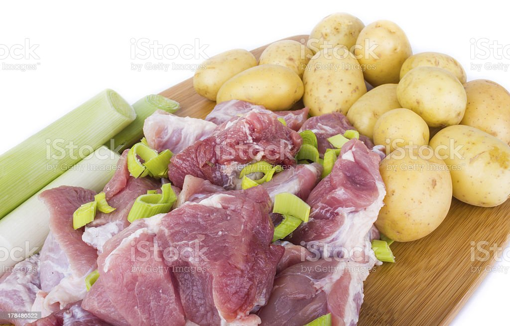Meat pieces and potatoes royalty-free stock photo