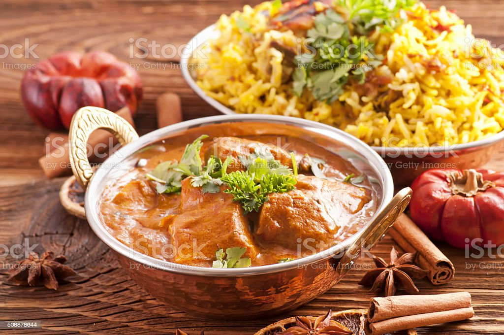 meat pilaf stock photo