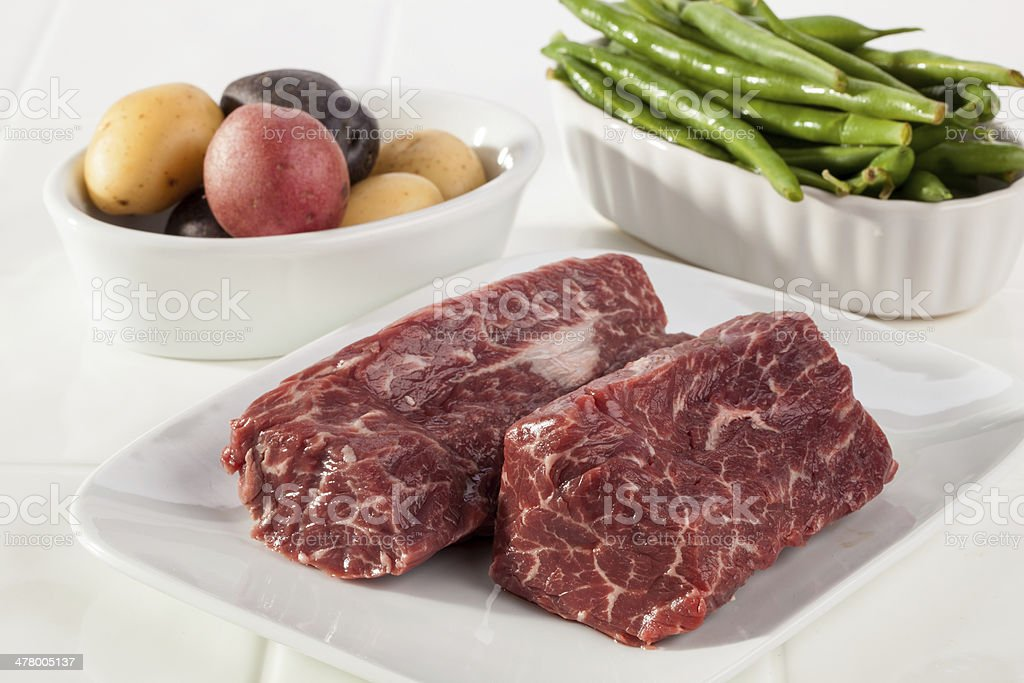 Meat, Potoates and Green Beans royalty-free stock photo