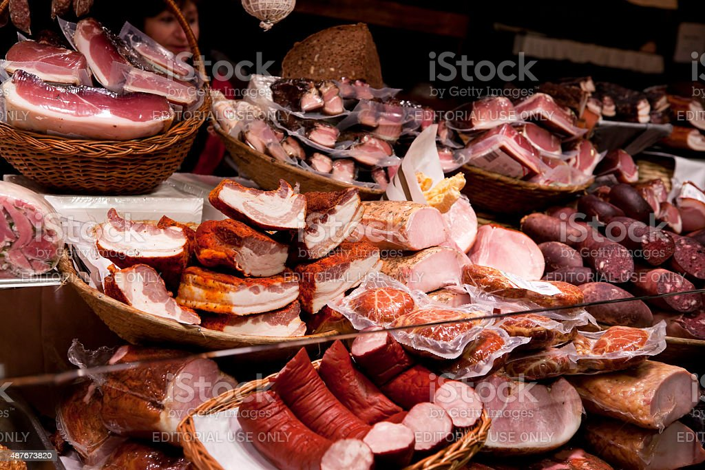 Meat products at Christmas Market in Vienna, Austria stock photo