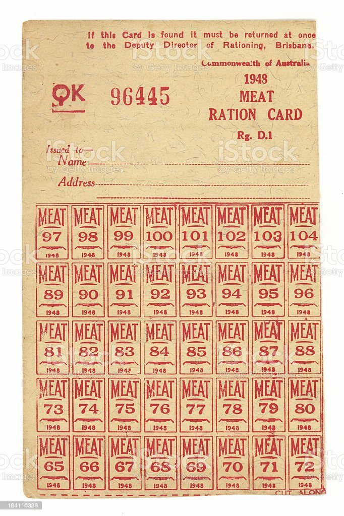 WWII Meat Ration Card stock photo