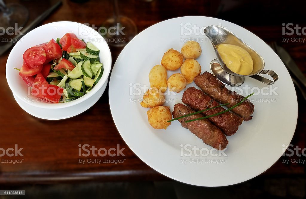 Meat rolls with cheese balls stock photo