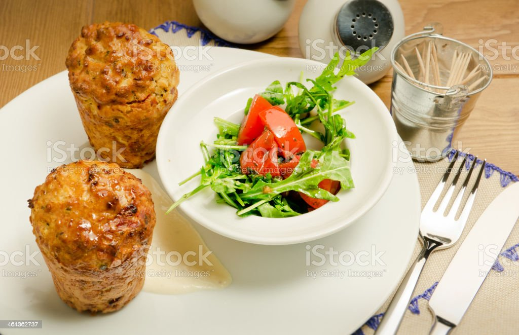 meat salad with dried tomatoes royalty-free stock photo