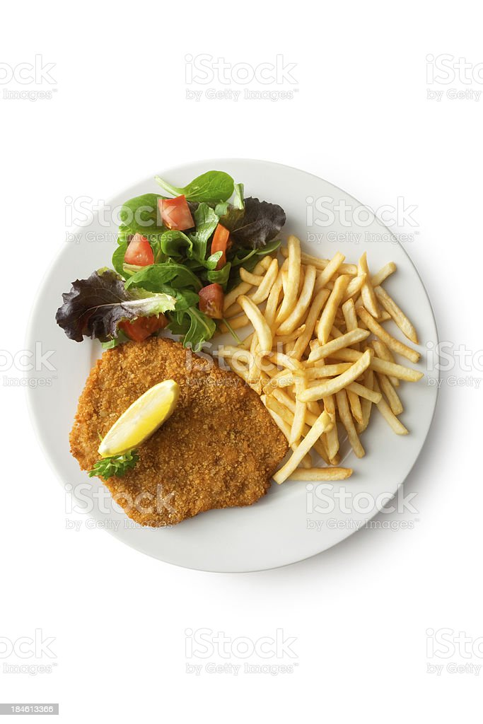 Meat: Schnitzel, French Fries and Salad stock photo
