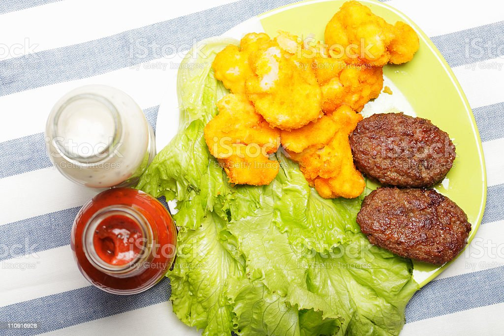 Meat shop meal with sauces stock photo