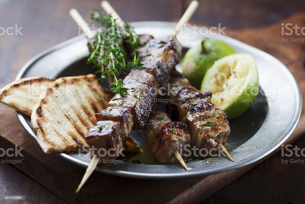 meat skewer stock photo