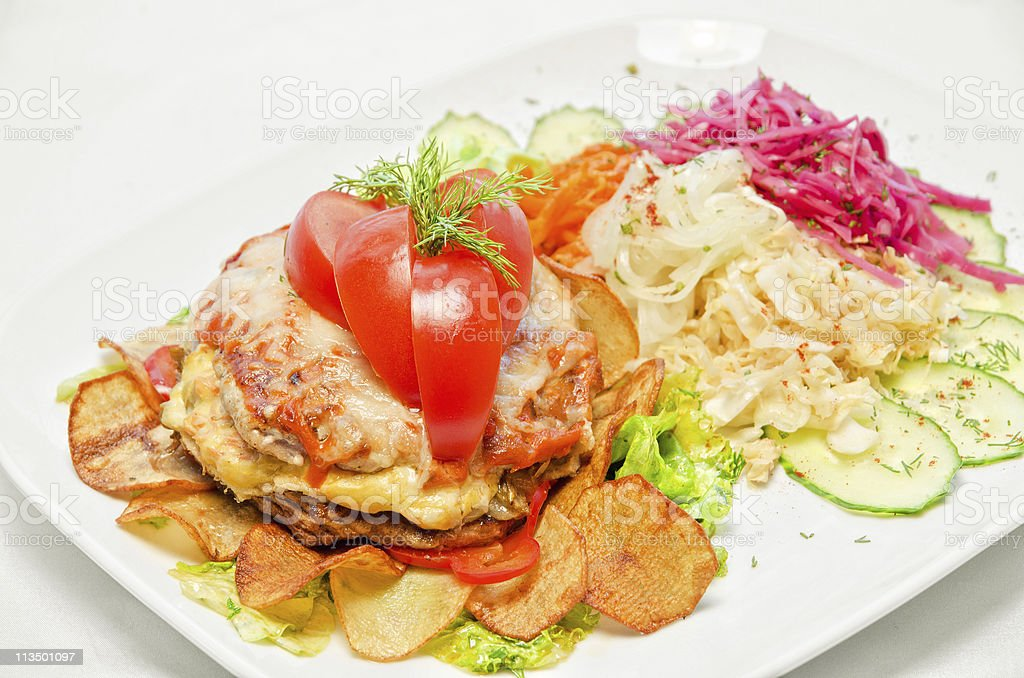 Meat steak with vegetables stock photo